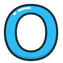 letter, alphabet, o, blue, letters icon