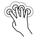 tap, four, gestureworks, finger, double icon
