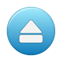 blue, button, eject icon