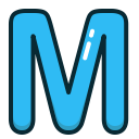 alphabet, letters, blue, m, letter icon