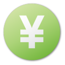 yuan, currency, green icon