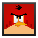 red,angrybird,blackframe icon