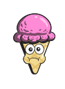 cartoon, cone, ice, cream, emoji icon