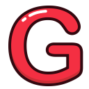 letter, letters, red, alphabet, g icon