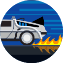 vehicle, fire, transportation, delorean, fast, car, transport icon