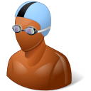 swimmer, dark, male icon