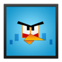 blue,angrybird,black icon