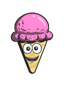 cream, ice, cartoon, emoji, cone icon