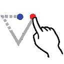 down, triangle, shape, gestureworks, stroke icon