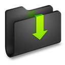 Black, Downloads, Folder icon