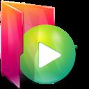 Aurora, Folders, texto, Play icon