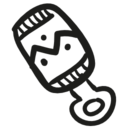 Baby rattle hand drawn toy icon