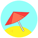 sunny, umbrella, beach, summer, sand icon