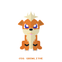pokemon, kanto, growlithe, fire icon