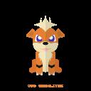 pokemon, kanto, growlithe, fire icon