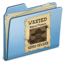wanted, blue icon