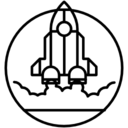 Rocket ship outline in launching position icon