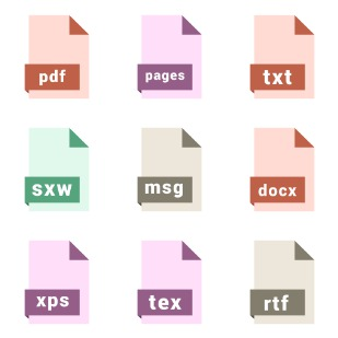 Document file formats icon sets preview