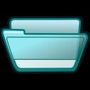 folder cyan open icon