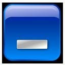 minimize, box, blue icon