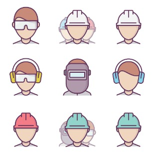 Construction Workers / Colors icon sets preview