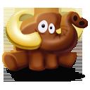 animal, mammoth, elephant, seated icon