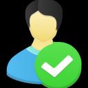 male, accept, user icon