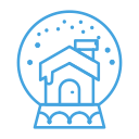 cabin, decor, snowglobe, snow, house, decoration icon