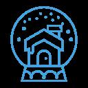 cabin, decor, snowglobe, snow, house, decoration icon