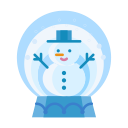 christmas, snowman, winter, snowglobe, snow, man icon