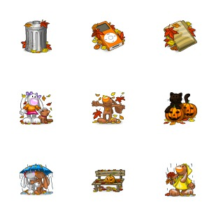 I Love Autumn icon sets preview
