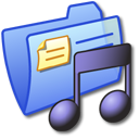 folder, music, blue icon