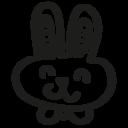 Rabbit hand drawn animal head icon
