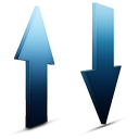 transfert, bleu icon