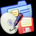 backup, folder, blue icon