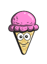 cartoon, ice, emoji, cone, cream icon