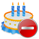 Birthday, Cake, Delete icon