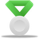 silver, metal, green icon