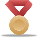 red, metal, bronze icon