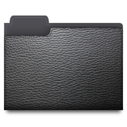 black, leather, folder icon