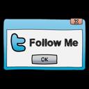 Dialog, Follow, Me, Twitter, Window icon