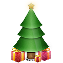 gifts, christmas, presents, star, tree icon