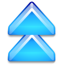 Action arrow blue double up icon