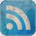 Feed blue grunge icon