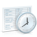 table, clock, time, chronological review icon