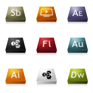 Adobe CS3 3DCons icon sets preview