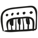 Piano hand drawn musical toy icon