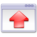 up, arrow, window, red, fullscreen icon