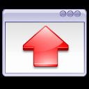 up, arrow, window, red, fullscreen icon
