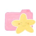 ak, happy, starry, folder, candy icon
